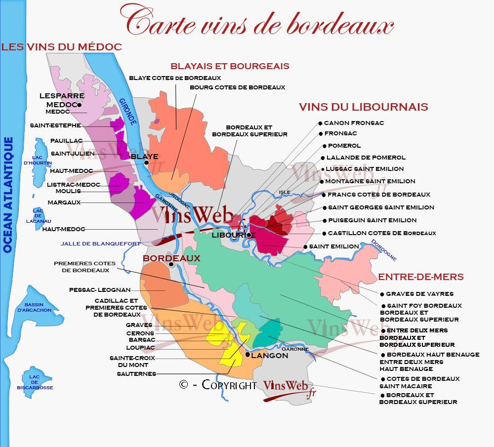 Carte Geographique Des Vins De Bordeaux Vin Bordeaux Vignoble