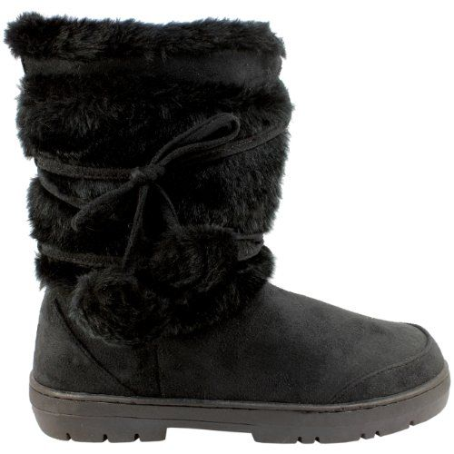 Womens Fur Lined Thick Sole Winter Snow Bobble Boots  Black  6  37  AEA0077 *** You can get more details by clicking on the image.(This is an Amazon affiliate link and I receive a commission for the sales)
