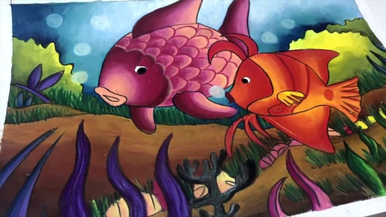 Mewarnai Gradasi Dengan Crayon Carandache 1 2 Under The Sea