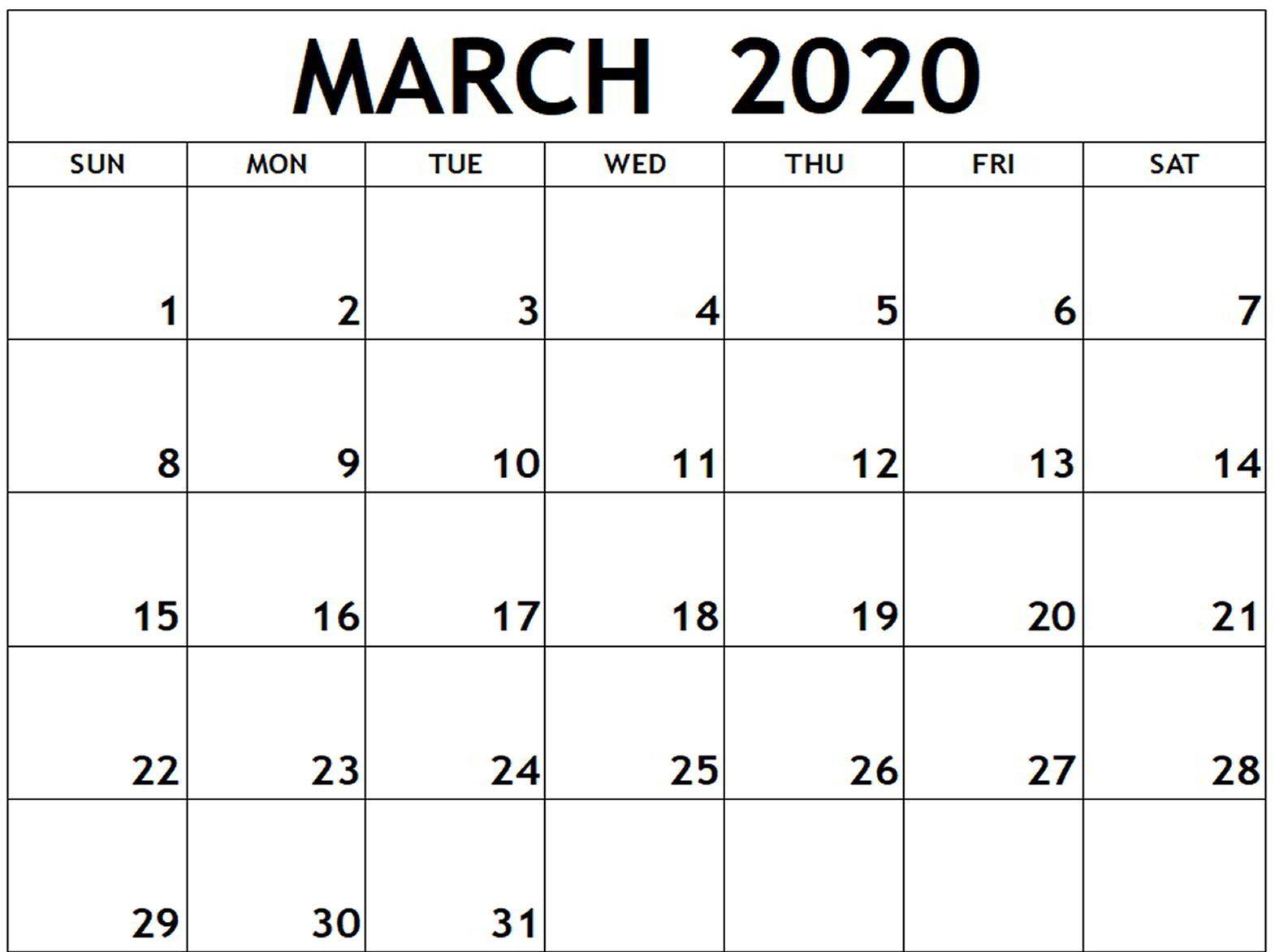Blank March 2020 Calendar Printable Templates Printable Calendar