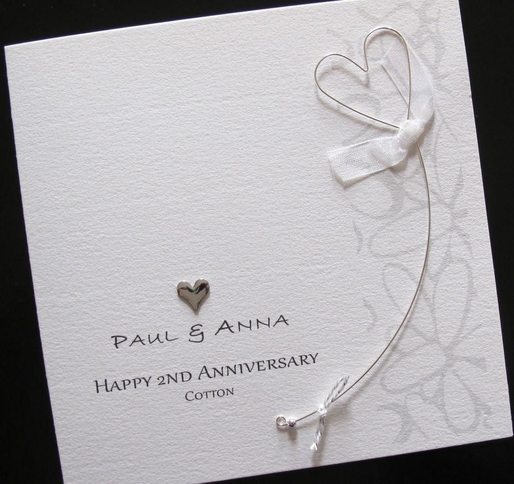 Handmade 2nd Wedding Anniversary Cotton Card