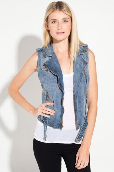 The Sleeveless Moto Vest in Denim Leopard by Current/Elliott at TAGS #WANT