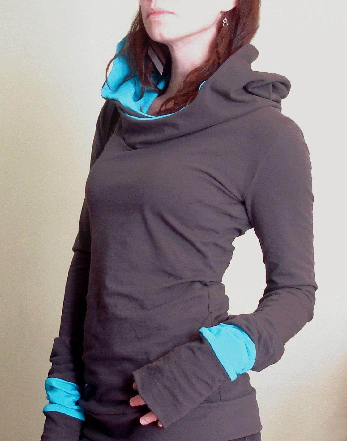 extra long sleeved hooded top Cement Grey with Light turquoise Blue by joclothing on Etsy https://www.etsy.com/listing/151113471/extra-long-sleeved-hooded-top-cement