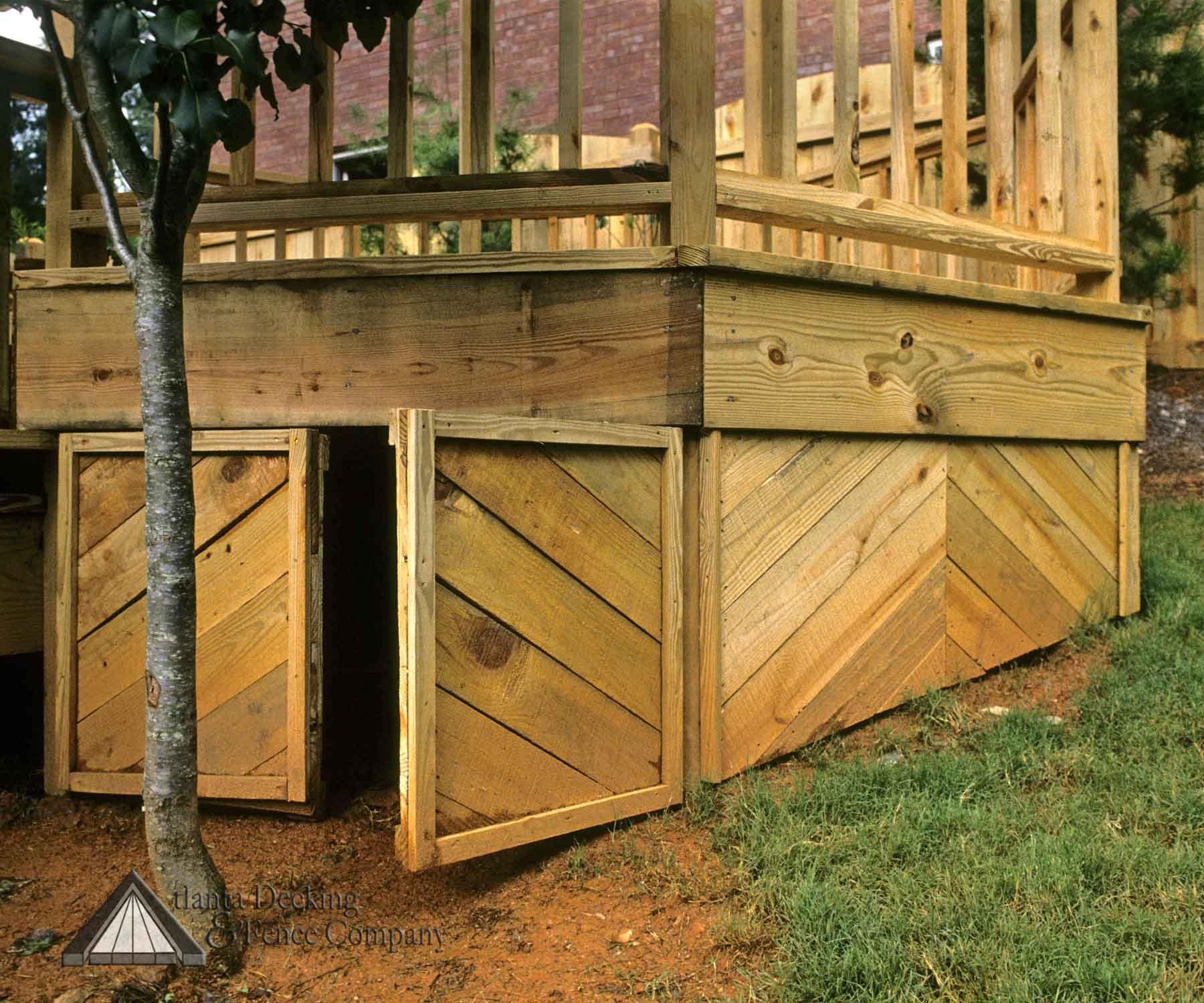 Under Deck Storage With Diagonal Panels Built By Atlanta