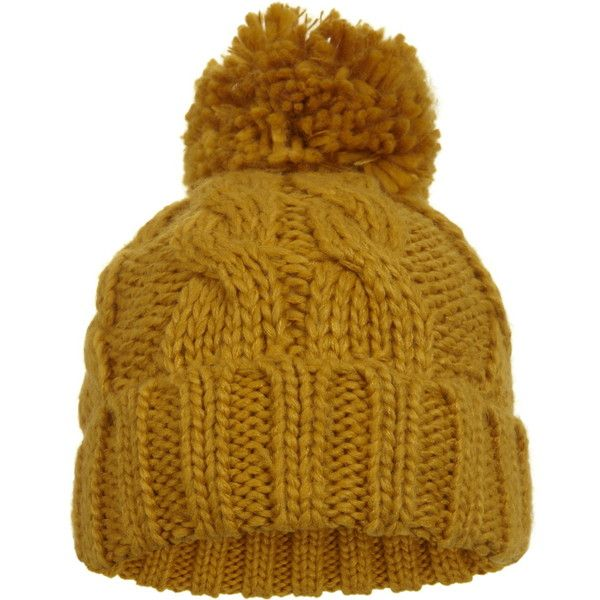 0fff1ce481ea7b Miss Selfridge Mustard Cable Knit Hat ($12) ❤ liked on Polyvore featuring  accessories, hats, mustard, mustard beanie, mustard beanie hat, mustard  yellow ...