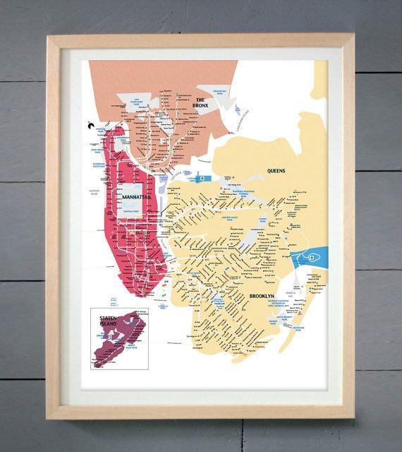 New York Transit Map Wall Art Print New York City Subway | artwork ...