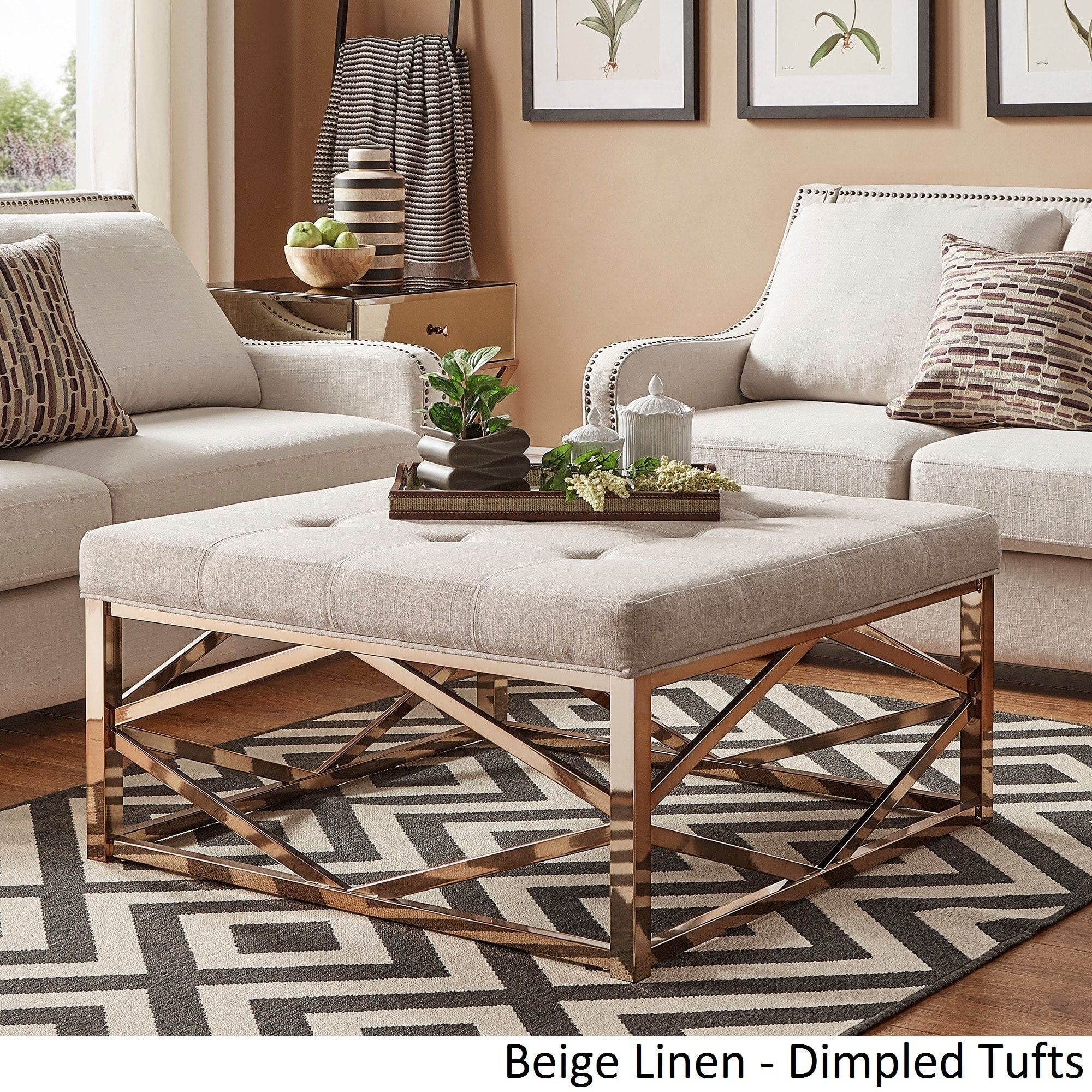 Solene Geometric Base Square Ottoman Coffee Table - Champagne Gold by  iNSPIRE Q Bold ([