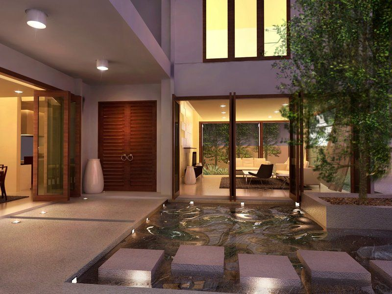 exterior green home courtyard design ideas green trees in the middle of pond completed - Courtyard Ideas Design