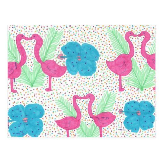 Flamingo Fun Tropical Pattern Postcard