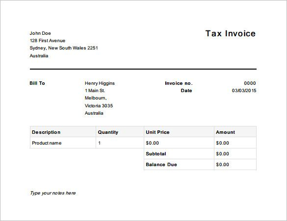 Tax Invoice Template Australia Free  Invoice Template For Mac