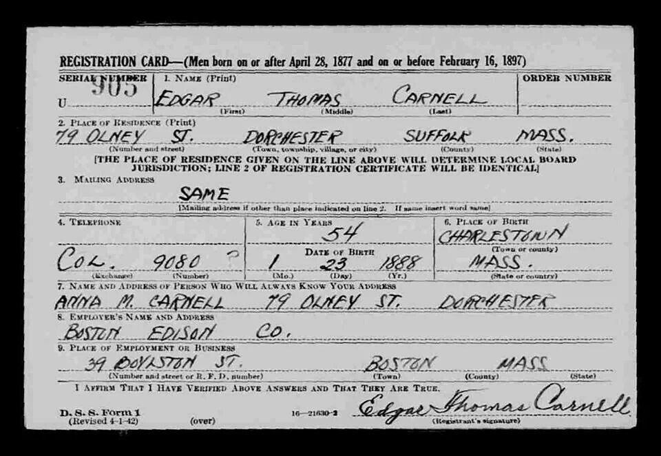 Edgar Carnell Draft Reg. Card