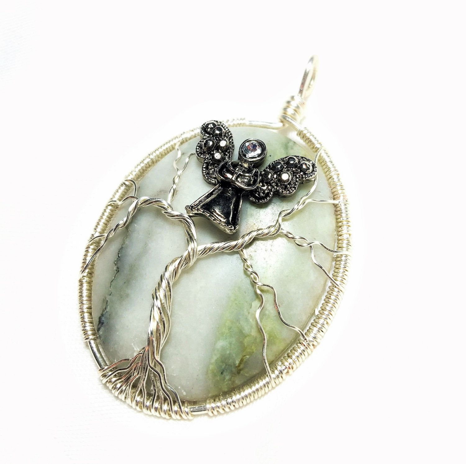 db21e93ba Guardian Angel Tree-of-Life, Jungle Jasper Pendant, Rainforest Jasper Wire  Wrapped by SassyMyDesigns on Etsy