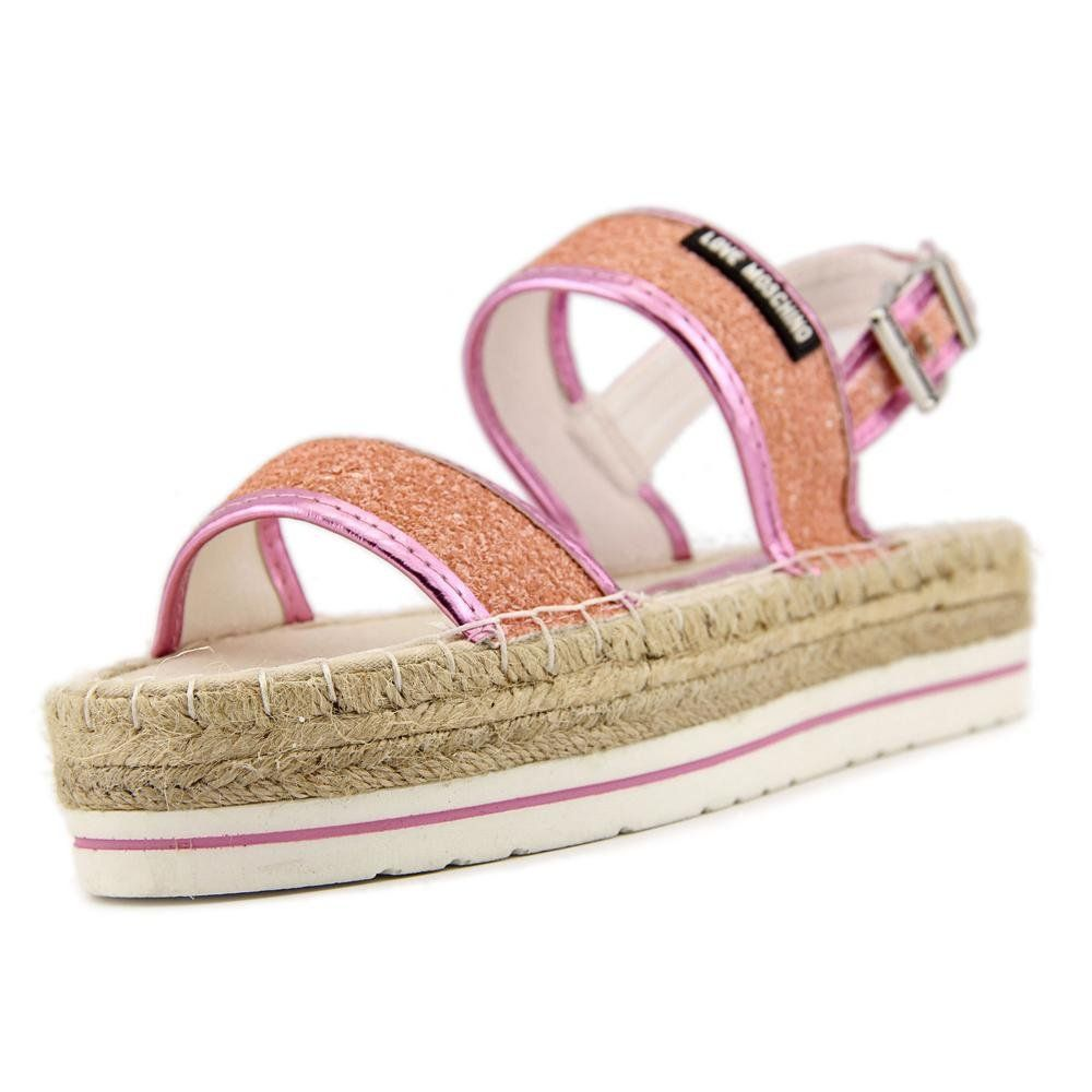 "Love Moschino Glitter Platform Women US 9 Pink Platform Sandal. The style name is Glitter Platform. The style number is JA1637401JD160A. Brand Color: Pink (Main Color: Pink). Material: Synthetic. Measurements: 2"" heel. Width: B(M)."