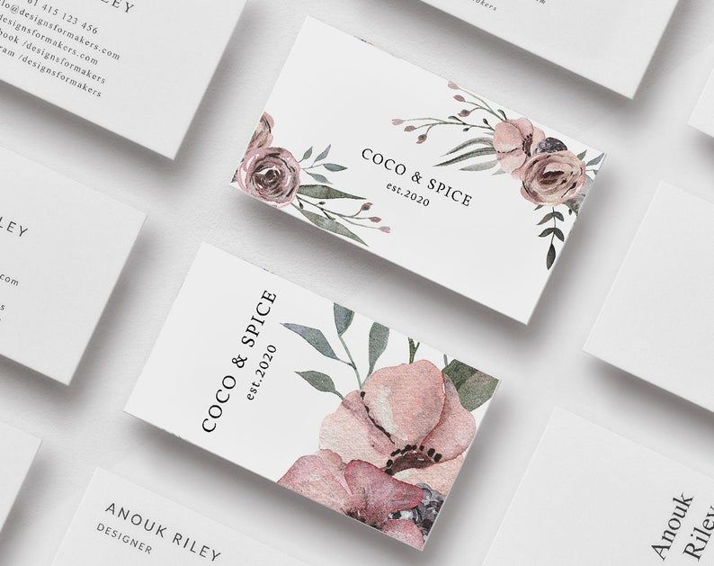 Floral Business Cards Editable Business Card Template Etsy Floral Business Cards Watercolor Business Cards Elegant Business Cards