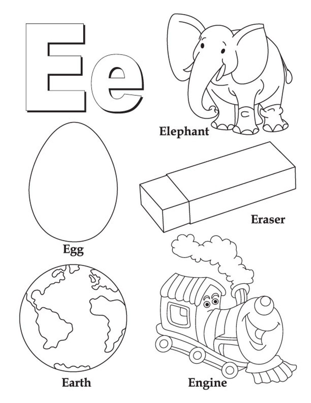 Alphabet Coloring Pages Free Words For E