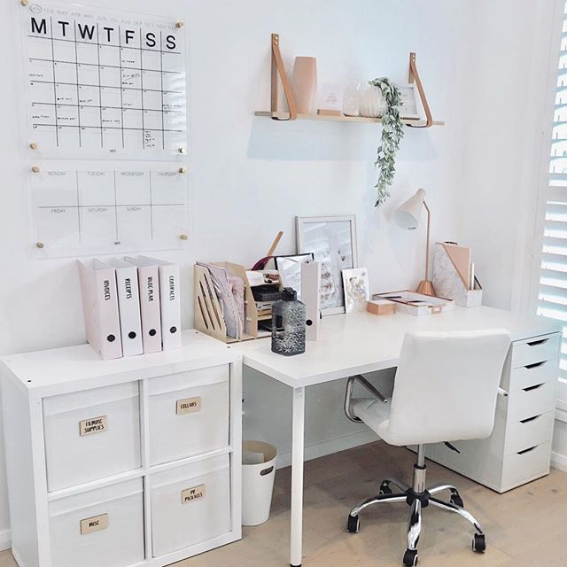 My Office It S Getting There Slowly I Went Budget Friendly So Most Items Are From Kmart Or Ikea I Find H Home Office Design Desk Layout Home Organisation