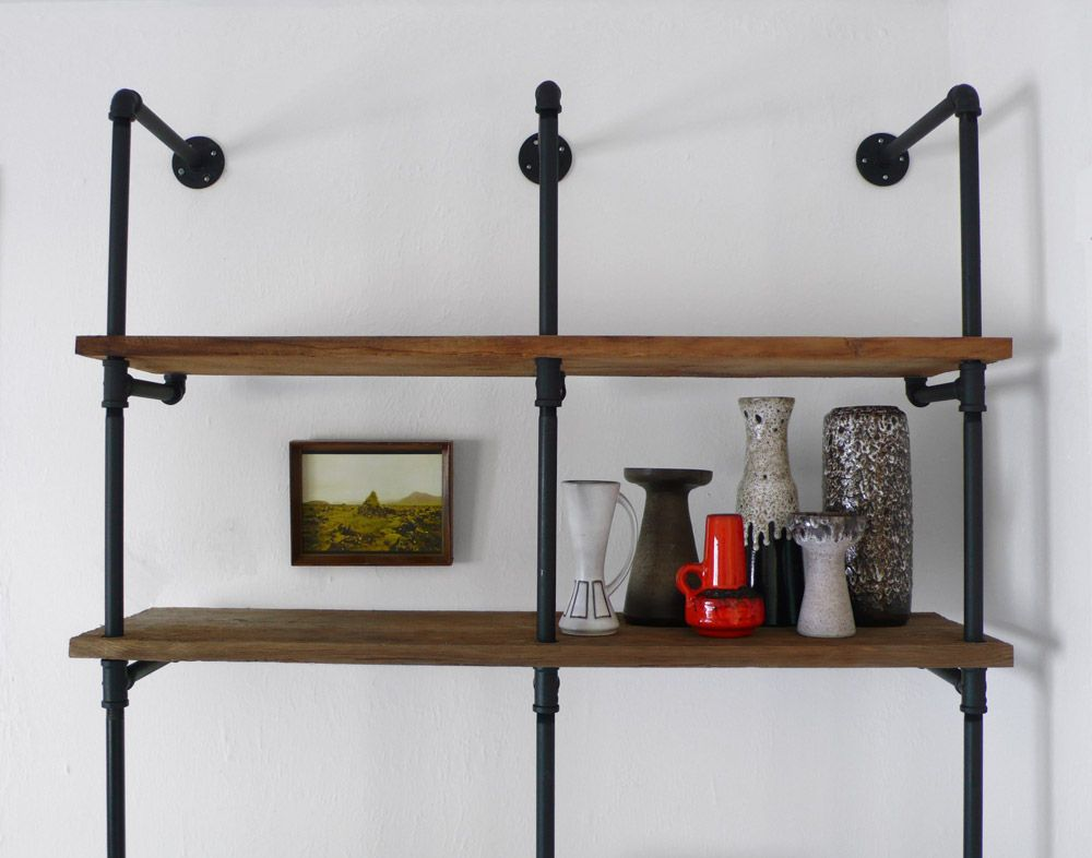 diy reclaimed wood and pipe shelving unit hindsvik at. Black Bedroom Furniture Sets. Home Design Ideas