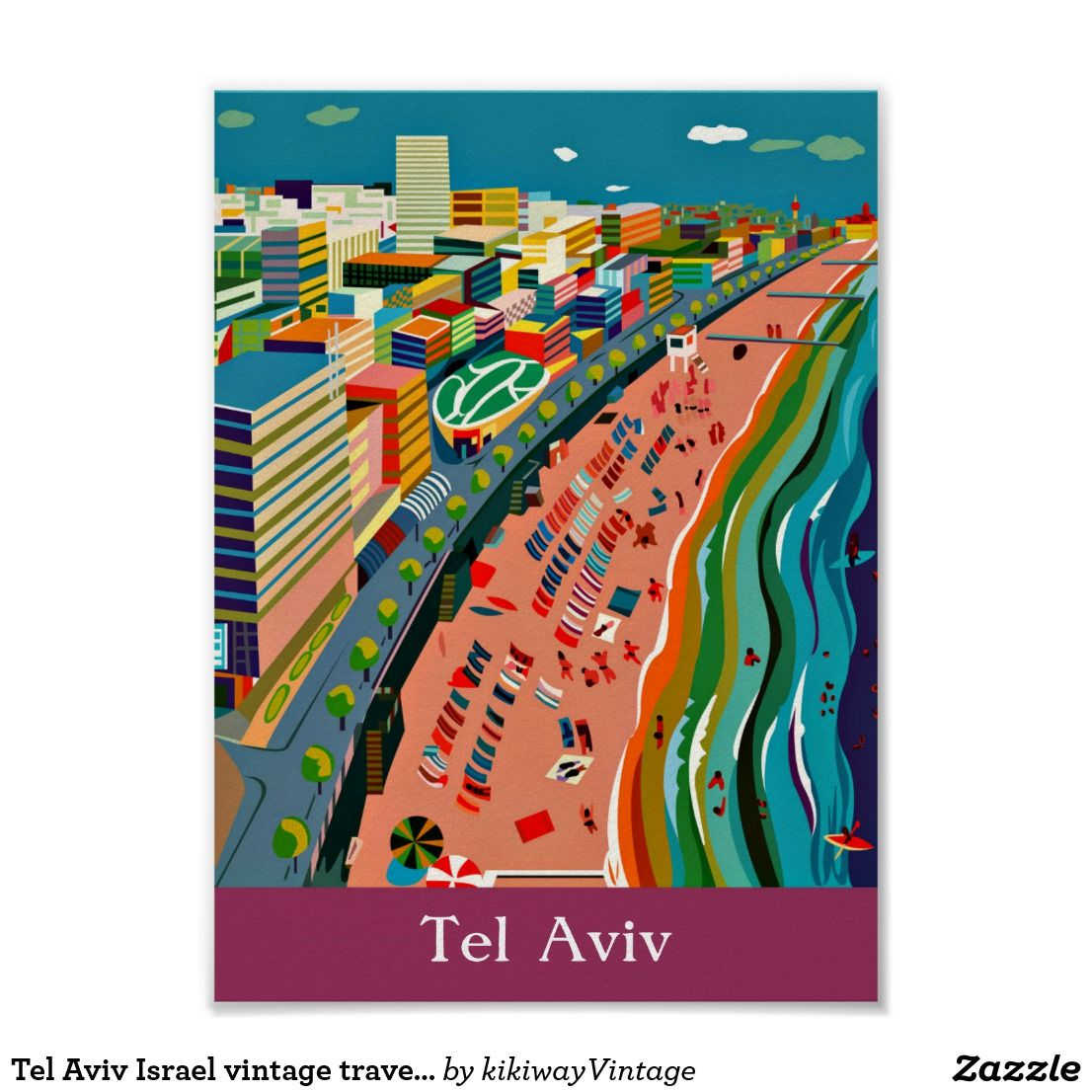 Zazzle poster design - Tel Aviv Israel Vintage Travel Tourism Ad Poster