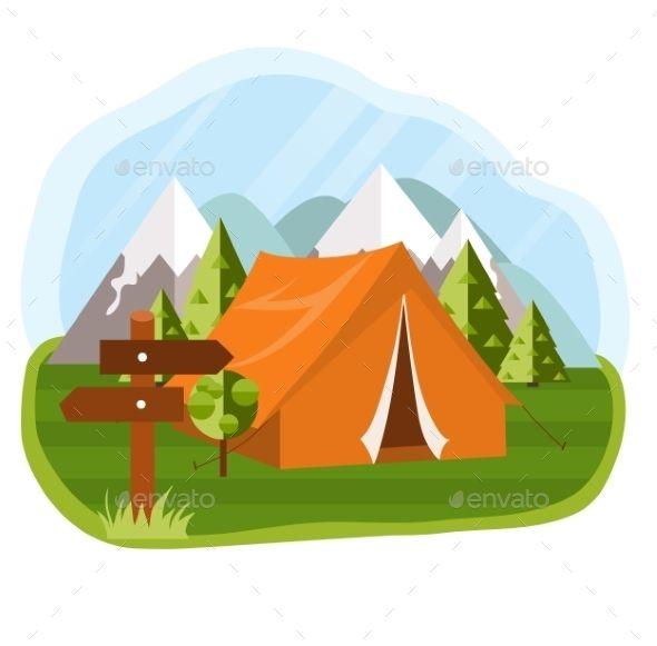 Vector Flat Illustration Camping By Lubashka Vector Flat