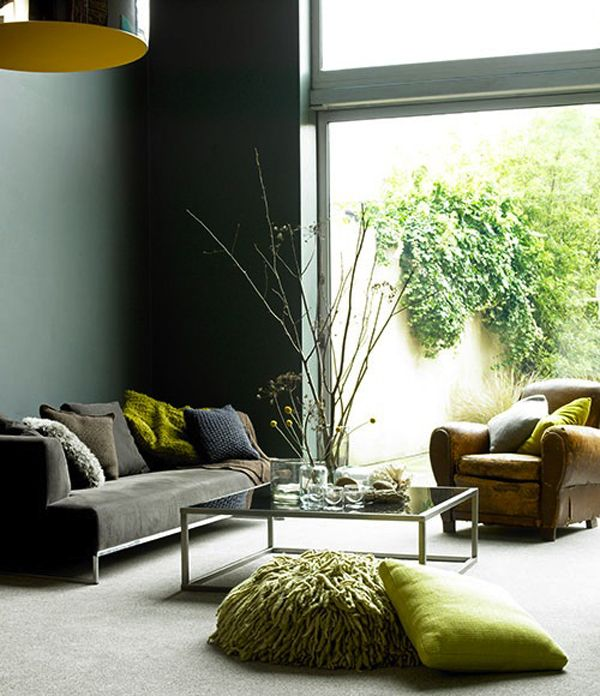 Dark Graphite Grey With Punches Of Chartreuse Makes Monochromatic Design One Of A Kind Living Room Green Living Room Grey Interior Design