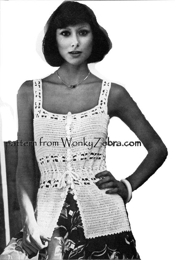 Vintage Crochet camisole tank top summer blouse crochet top Pattern ...