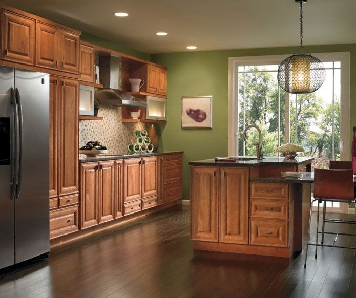 Galley Kitchen With A Small Island Cherry Cabinets Kitchen Interior Design Kitchen Kitchen Cabinet Design