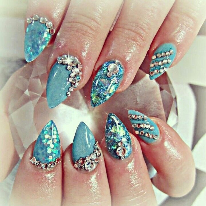 Shiny Blue Acrylic Nails And Swarovski Crystals
