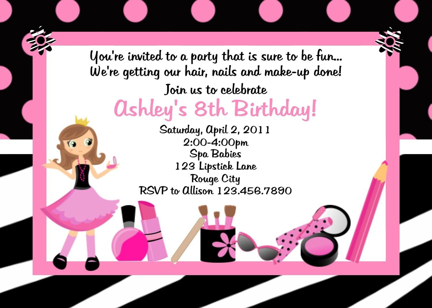 Free Printable Birthday Party Invitations No Download | Spa ...