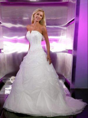 Brillante satinado / organza vestidos de novia A-Line con muescas