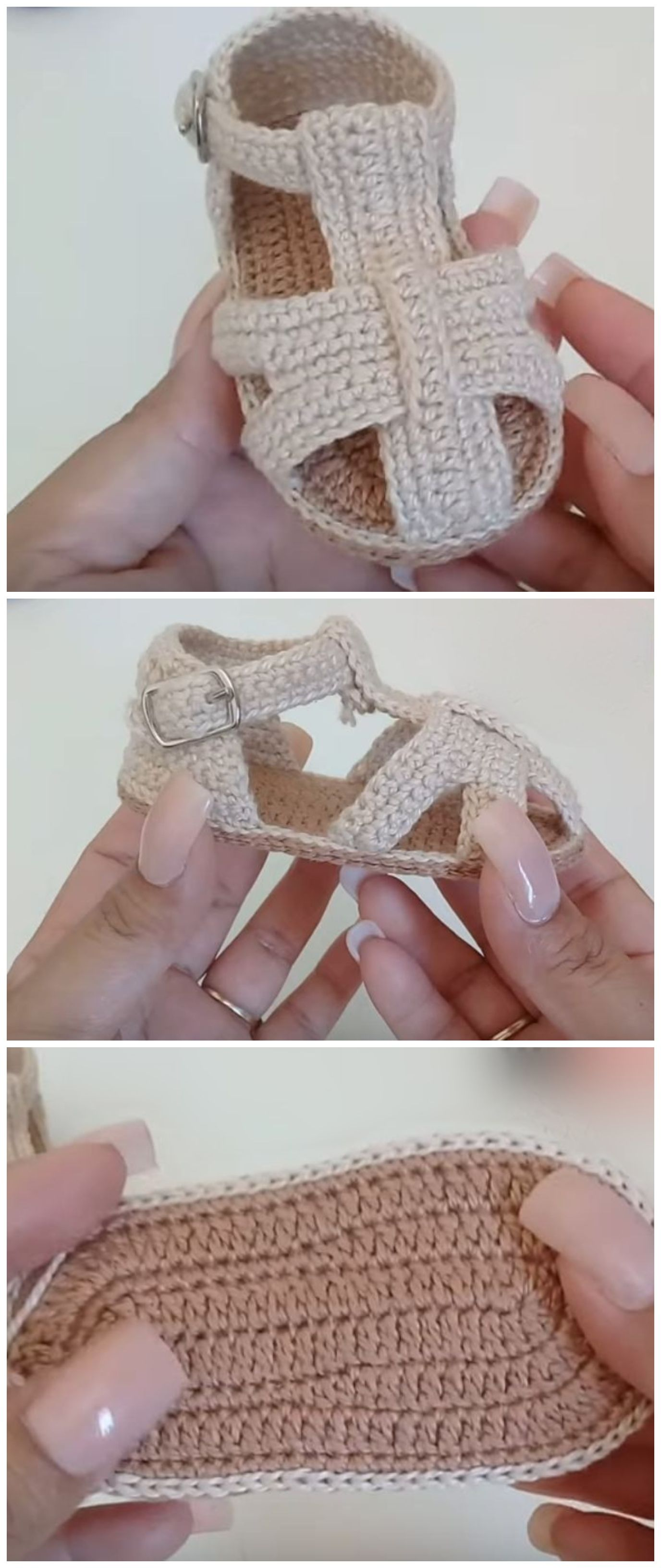 Crochet Baby Sandals From 3 To 6 Months