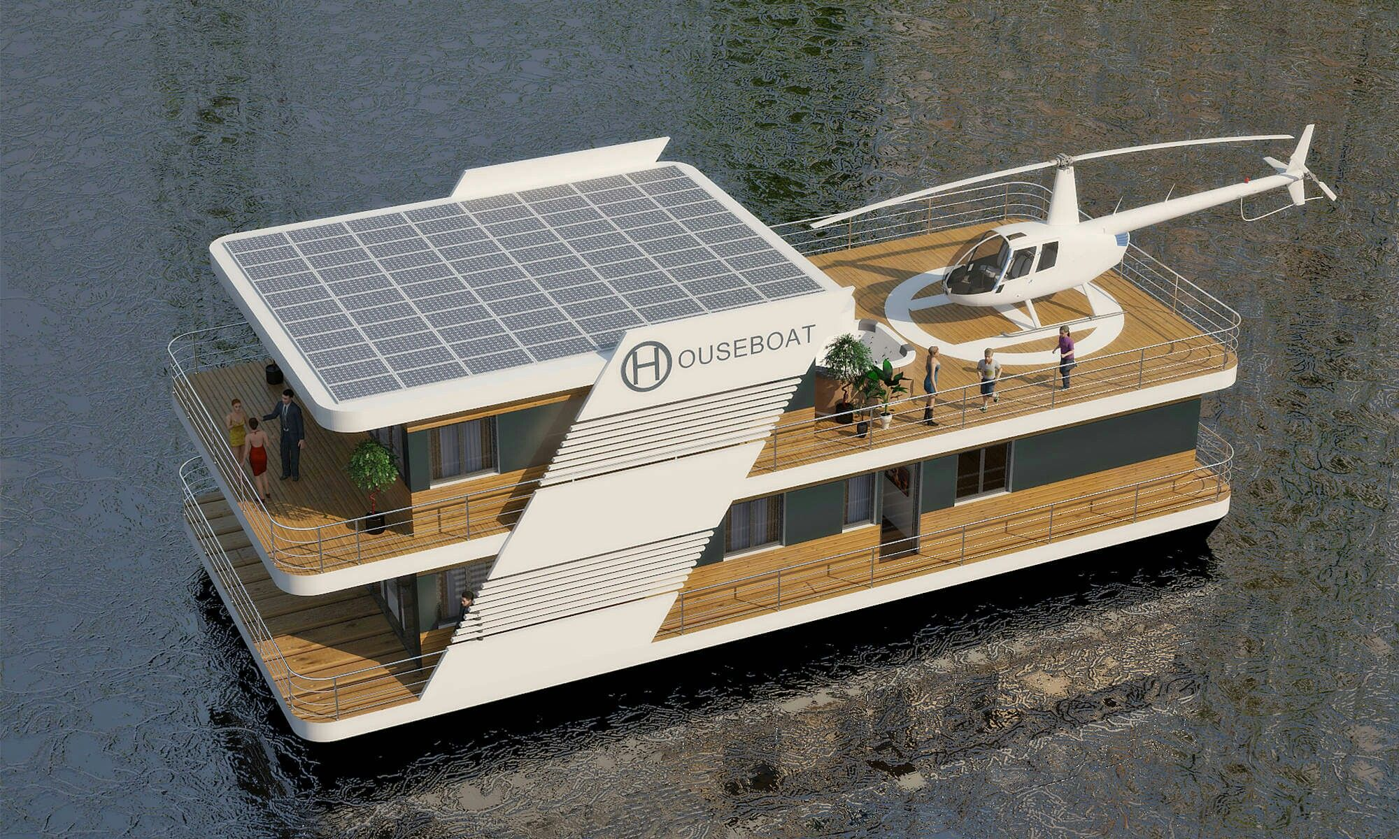 Solar Powered Boat House In 2019 Floating House Water