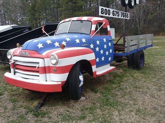 Patriotic Truck Cool Trucks Old Trucks Trucks