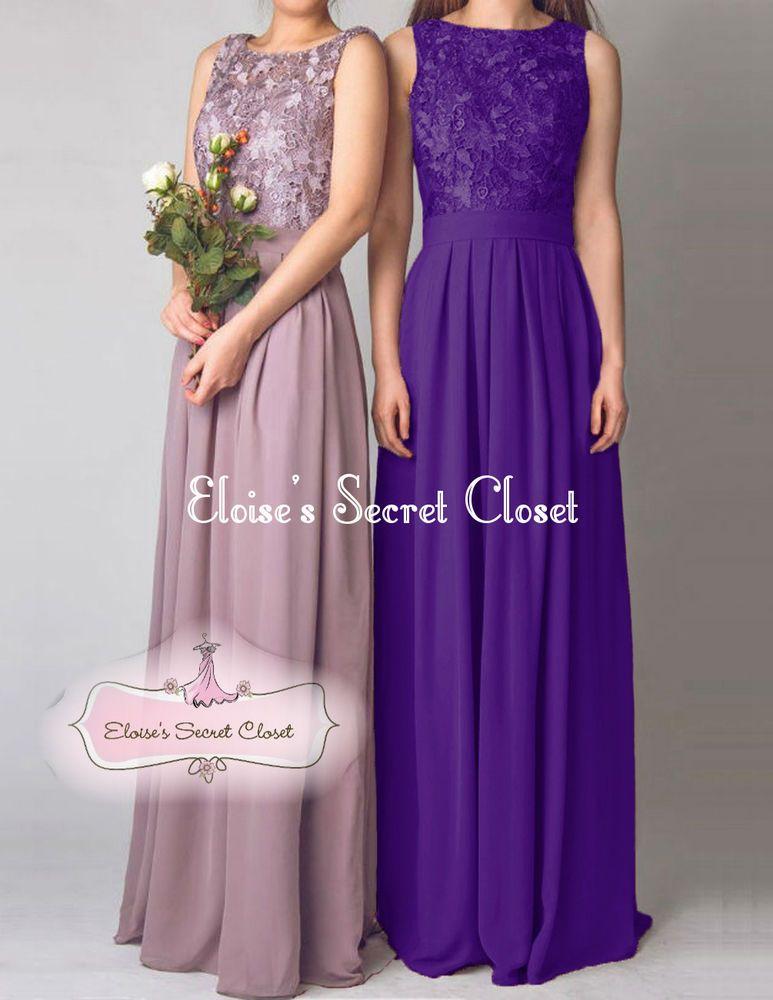 LYDIA Cadbury Purple Lace Chiffon Prom Evening Bridesmaid Dress UK ...