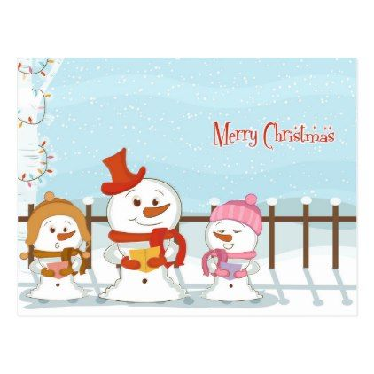 Cute Christmas Snowman Family Postcard - Xmascards ChristmasEve ...