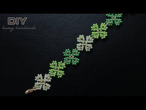 Photo of Four leaf clover beaded bracelet. Beading tutorial
