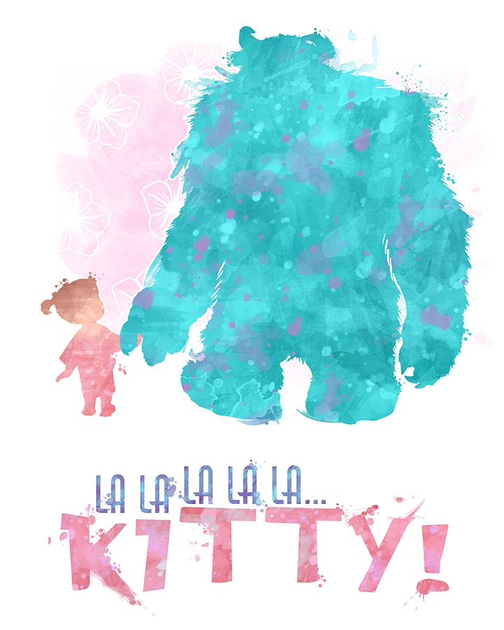 Sulley And Boo Kitty 8x10 Monsters Inc Printable Etsy Watercolor Disney Disney Posters Disney Wallpaper