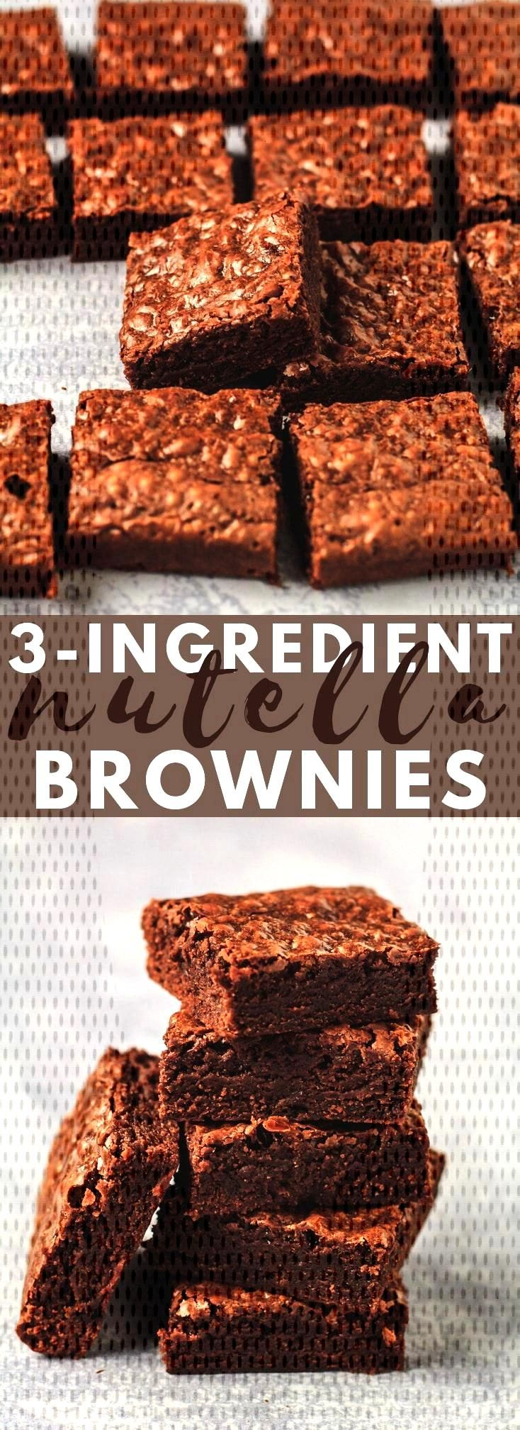 Easy 3 Ingredient Nutella Brownies - Deliciously thick and fudgy brownies that are LOADED with Nute