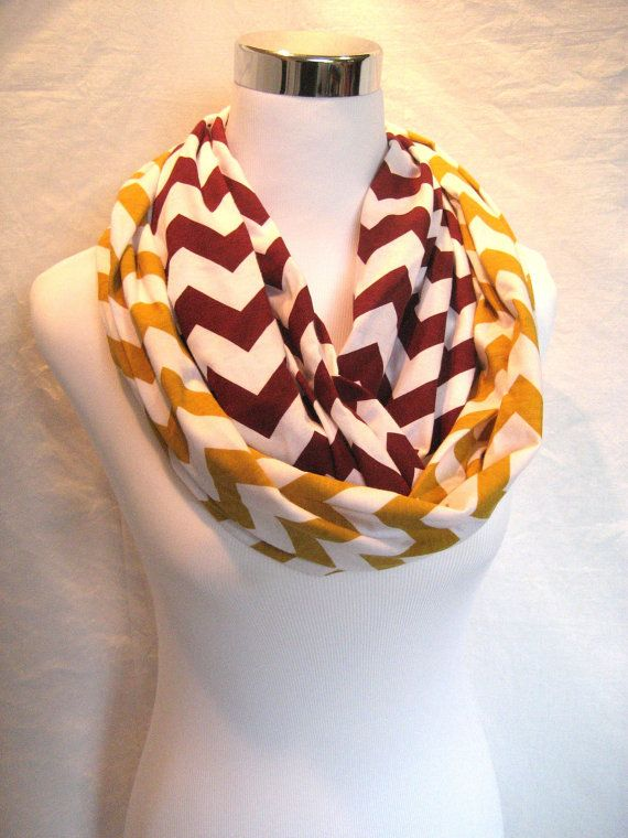 7b76a028bba LONG Maroon and Gold Chevron colorblock Infinity Scarf - Jersey Knit ...
