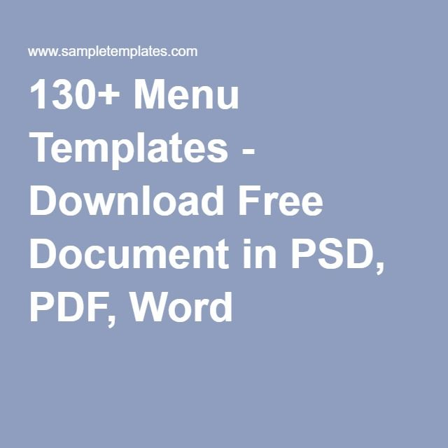 130+ Menu Templates - Download Free Document in PSD, PDF, Word - free word menu template