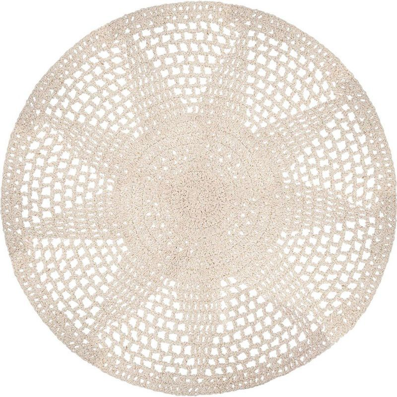 tapis rond blanc casse crochet tricot