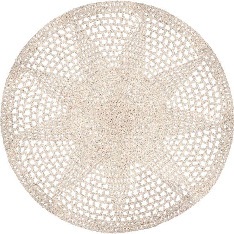 tapis rond blanc casse crochet tricot