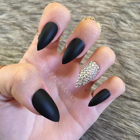 Black Matte Nails Chrome Nails Nails With Rhinestones Acrylic Nails Gel Nails Nails Design With Rhinestones Rhinestone Nails Coffin Nails Matte