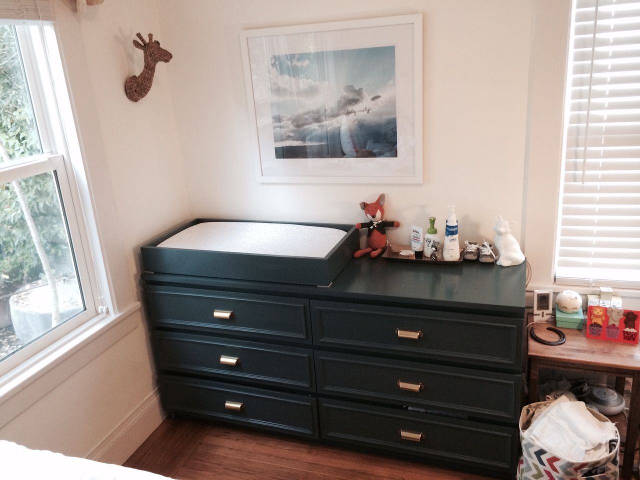 Ikea Malm Dresser Hack Changing Table DIY w/ brass pulls | Baby P ...