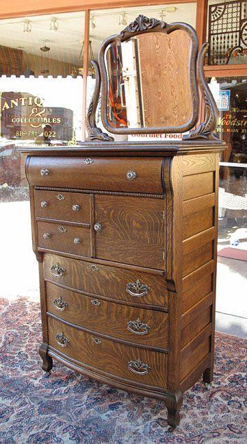 Antique Quartersawn Oak Hat Box Highboy Dresser In 2019