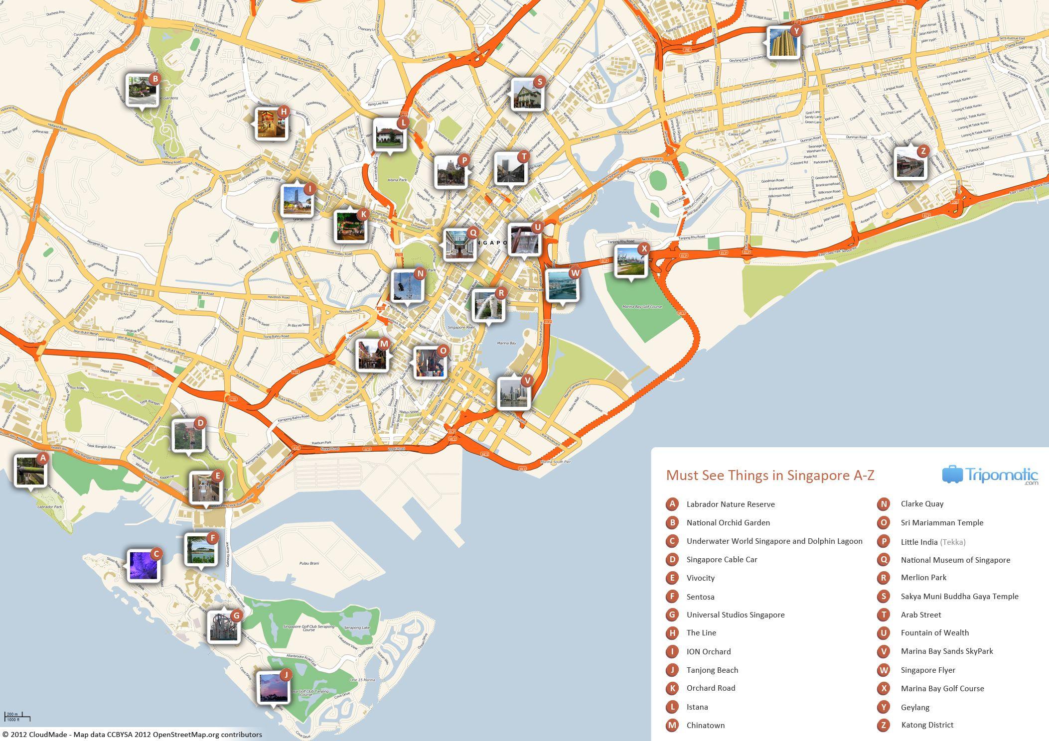 Singapore Printable Tourist Map in 2019 | Free Tourist Maps ... on