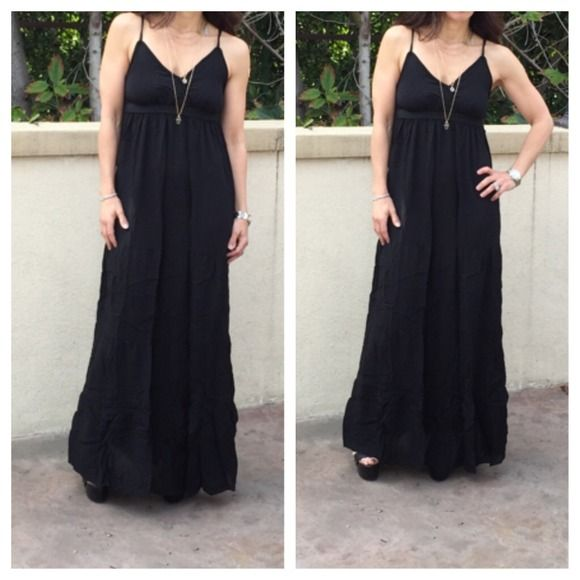 Beautiful black tiered dress ONE DAY SALE This tank gorgeous flowy dress has such a bohemian chic vibe it has adjustable straps great fit can be worn dressy or casual PLEASE DON'T PURCHASE THIS LISTING WILL MAKE YOU A SEPARATE LISTING Dresses