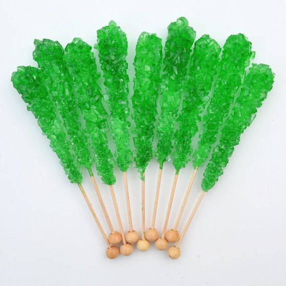 Our Apple / Green sugar swizzle sticks (rock candy) are