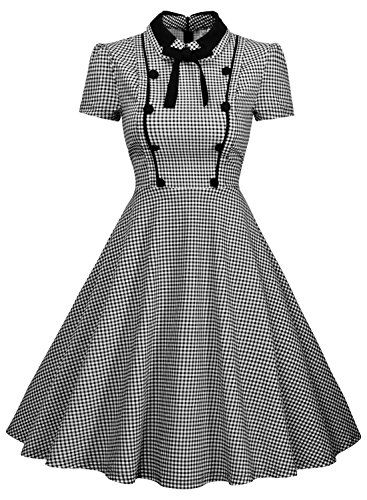 Missmay Womens Elegant Vintage 1940s Short Sleeve Plaid Swing Dress ...