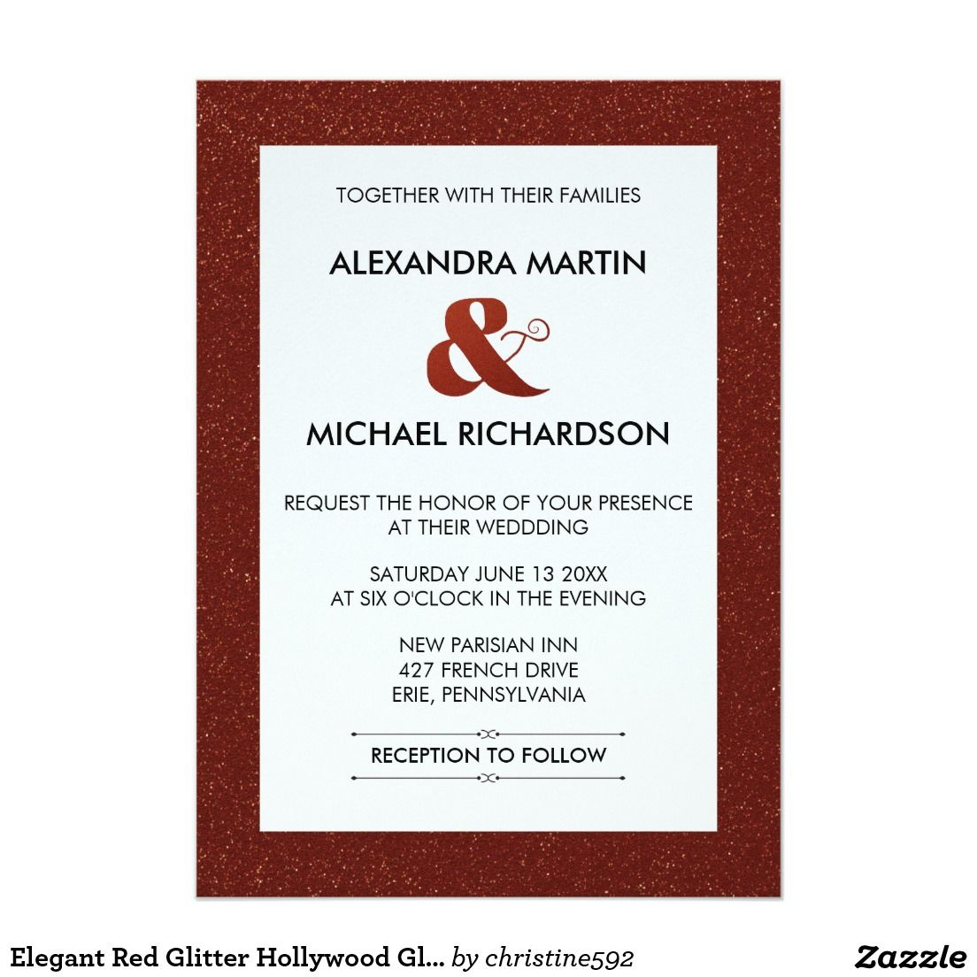 Elegant Red Glitter Hollywood Glam Wedding 5x7 Paper Invitation Card ...