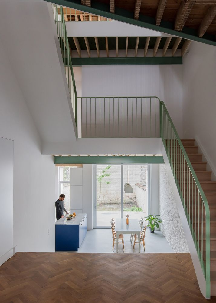 Renier chalon interior stairs railing green wood ceiling different levels house apartment structure also gallery of mamout architects auxau atelier  rh pinterest